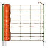 VOSS.farming Rete per recinzioni da pascolo elettrificabile, Altezza 106 cm e 50 m di Lunghezza, a Punta Doppia,14 Pali Verdi, Colore Arancione/Verde