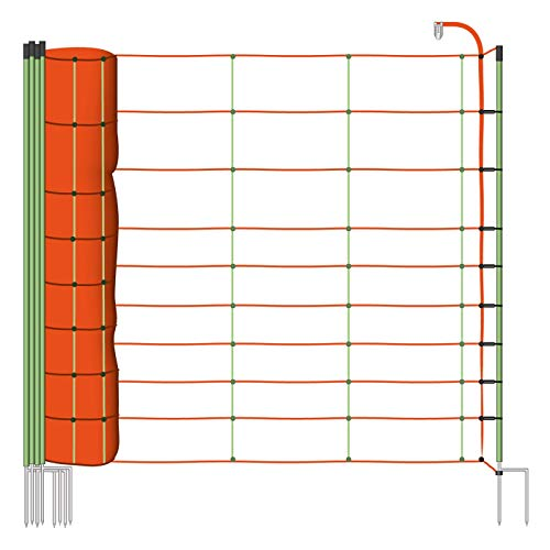 Voss.farming Filet Mouton 50m H : 106cm Orange/Vert 14 piquets Double Pointe clôture électrique
