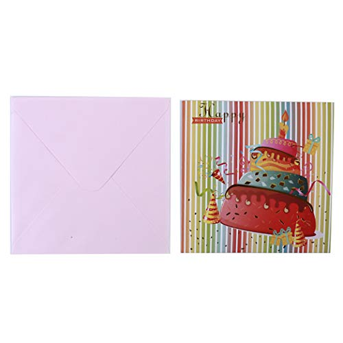 Buelgma Geburtstags Segen Karten Hohle Kuchen Kerze Papier Schnitt Pop Up Gruß Karten Mitteilungs Karten Geschenke Für Familienfreunde (Rosa) - Hohle Kerze