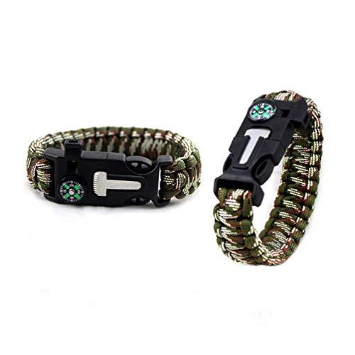 Paracord Bracelet, 2 réglable Bracelet de survie Flint Fire Starter Grattoir Boussole Sifflet pour homme femme enfants pour la randonnée, le camping, Vert militaire Camouflage