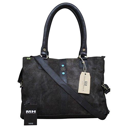 Desiderius echt Leder Vintage Shopper Schulter Tasche Leder Vintage NEW + Tuch Gratis, Farbe:Schwarz Braun