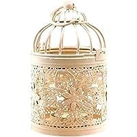 Antiguo estilo marroquí Linternas colgantes hueca vela soporte para boda romántica decoración de la pajarera, hierro, 3#flower, 3
