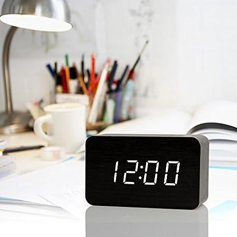 QUIEANT Alarme Led créatif bois Jong-montres électroniques réveil réveil en sourdine la série L