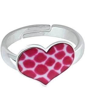 SL-Collection Ring Kinderring Herz Print pink Leo Grösse einstellbar 925 Silber