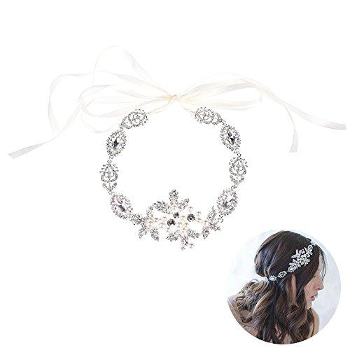 Oshide Haarschmuck Hochzeit Kristall Haarband Haarschmuck in Silber mit Strass Blumen und Perlen...