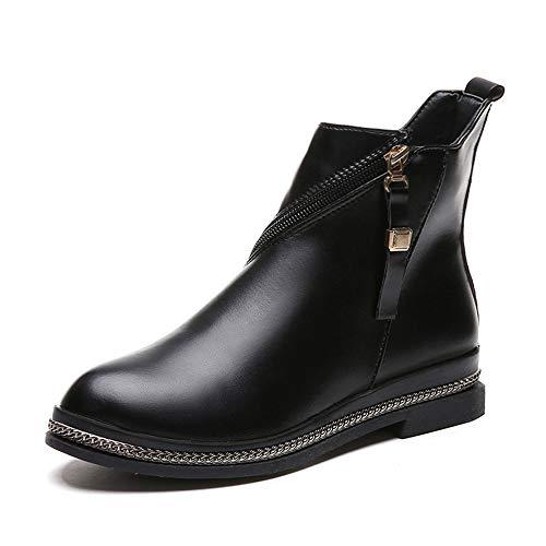 Damen Schuhe Mumuj Sale Fashion Schwarz Leder Flach Einfarbig Kurze Stiefel Klassischer Ratiating Reißverschluss Stiefel Round Toe Biker Arbeiter Warm Herbst Winter Boots