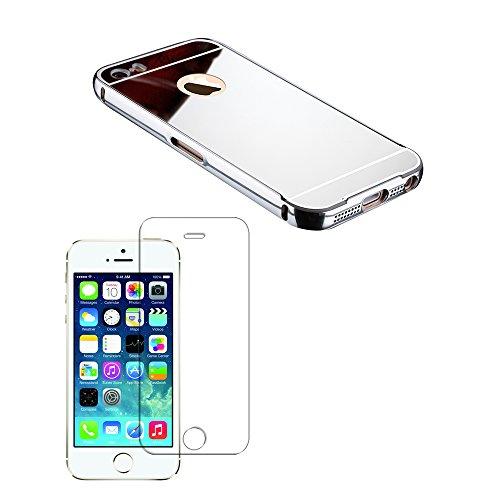 Luch iPhone SE 5S 5 Hülle + Panzerglasfolie, Aluminium Metall Spiegel Mirror Bumper Schutzhülle Case - Aluminium Rahmen mit PC Spiegel Rückseite Handyhülle + Glasfolie für iPhone 5 5S SE, Silber
