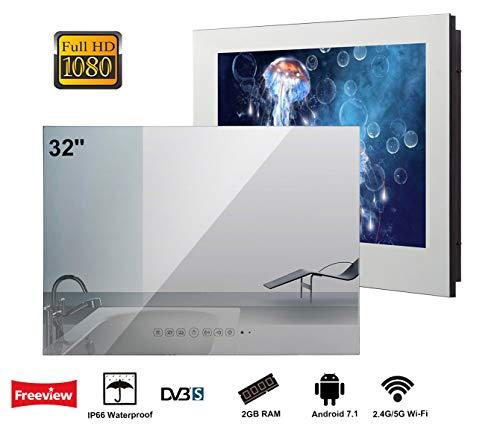 Soulaca 32-Zoll Smart Android IP66 Wasserdichter Badezimmer Fernseher, mit Stylischer Spiegel-Front, 1080P, mit Wi-Fi/Integrierte Lautsprecher(DVB-S-Empfang) (Smart Tv 32 Zoll 1080p)