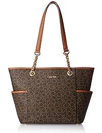 Calvin Klein Monogram Chain Saffiano Tote Bag