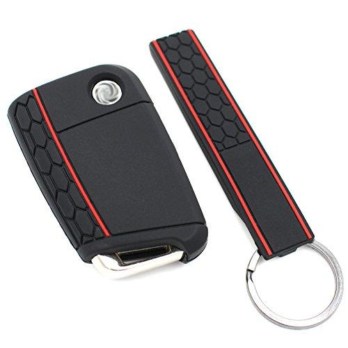 Schlüssel Hülle + Keytag VB für 3 Tasten Auto Schlüssel Silikon Cover von Finest-Folia (Schwarz)