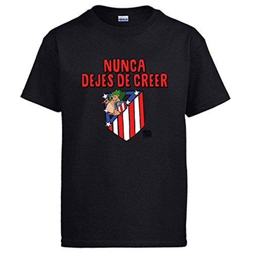 Diver Camisetas Camiseta Atlético de Madrid Nunca Dejes de Creer 2 Jorge Crespo - Negro, XXL