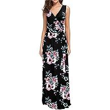 e5212e359 Lover-Beauty Vestido Largo Floral Print Casual Verano para Noche Fiesta  Playa Fiesta Manga Corta