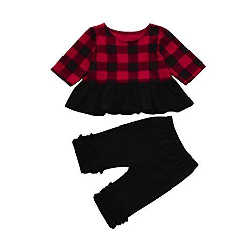 öcke print - kleid maximal Kleid mädchen Rock karierten hosen kleider set Rock Hose zweiteilig (120, Rot) (Mädchen In Karierten Mini-röcke)