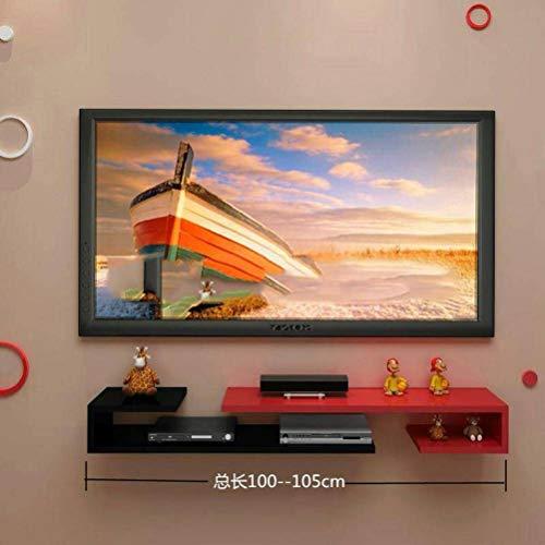 BinLZ Wandmontage Laminat Tv-Schrank Farbe Set-Top-Box Rahmen Wanddekoration Modernen Minimalistischen Versenkbaren Rack Wandbehang, Black red Assorted
