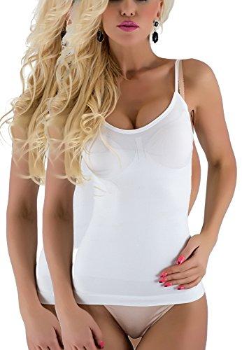 R-Dessous Slim Figur Hemd Shapwear Bauchweg Mieder Lif BH Hemdchen ,2 Weiss,Herstellergroesse S/M (34-36-38)