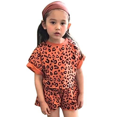 Baby Mädchen Kleidung Set,Pwtchenty Bekleidungssets für Baby Mädchen,Neugeborene Baby Mädchen Leopard T-Shirt Tops + Shorts Outfits Sets Sommer Kleidung Set Trainingsanzug (Minnie Maus Strampelanzug Kostüm)