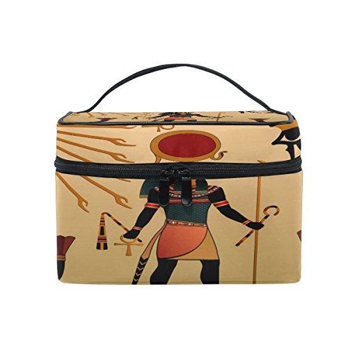 Coosun Antike Ägyptische Kosmetik-Tasche Canvas Reise-Kulturbeutel mit Griff mit Make-up Tasche Organizer Multifunktions-Kosmetik-Tasche für Damen