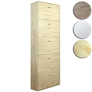 Miadomodo Scarpiera armadio mobile portascarpe ca. 169 x 59 x 17 cm con 5 scomparti per 10-15 paia di scarpe colore faggio