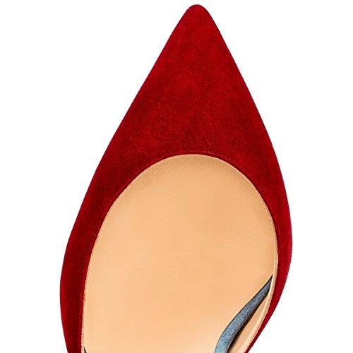 uBeauty Damen Stilettos High Heels Ankle Buckle Pumps Knöchelriemchen Mischfarben Cross Strap Sandalen Mehrfarbig