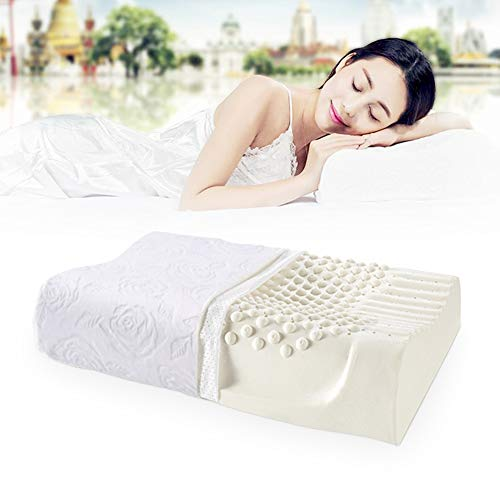 Latex Kopfkissen Latexkissen, NewMum Ergonomische mit Kissenbezug für Verbesserung der Schlaflosigkeit, Nackenmassage, hypoallergen, antibakteriell, Anti-Milbe Staub -