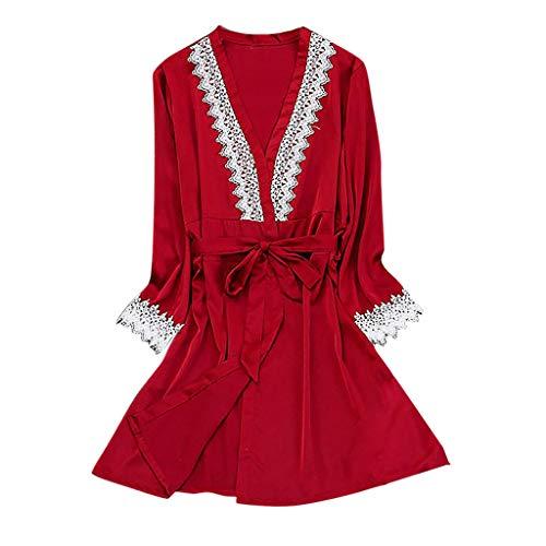 Allence Damen 2pcs Dessous Die Seide Spitze Robe Kleid Puppe Nachthemd Nachtwäsche Kimono Einstellen Sexy Sling Nachthemd Nachtwäsche Seide Spitze Kleid Babydoll Nachthemd -