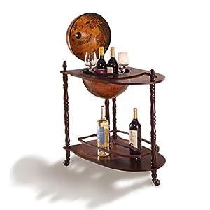 DREAMADE Globus Bar Hausbar, Weinregal auf Rollen, Globusbar Weltkugel Mini Bar Dekobar, Flaschenregal mit Stauraum und…