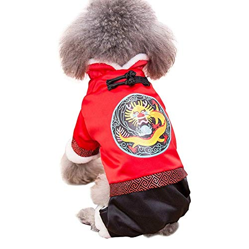 H.JPT Pet Clothes, Dog Cat Clothing Winter Cotton Coat Tang Suit Small Medium Dog New Year Clothing, Red (Color : Dragon, Size : XL) (Seasons Halloween-kostüme Four)