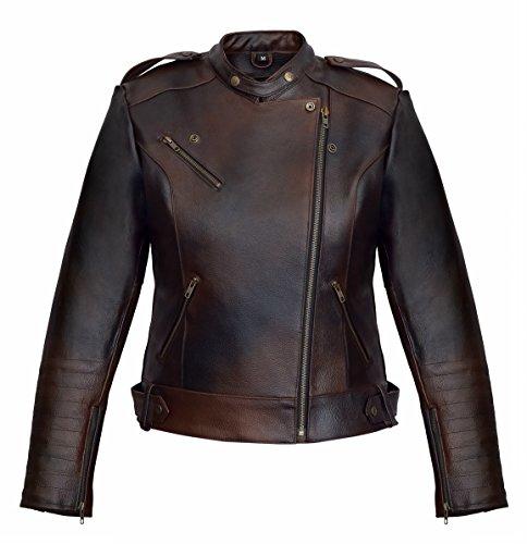 *DAMEN LEDERJACKE MOTORRADJACKE BIKER JACKE FRAUEN WINTERJACKE BRAUN – 2008 (XL)*