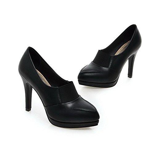 Pointu Couleur à Cuir Tire Noir Unie Haut Femme Talon Chaussures VogueZone009 Pu Légeres nXYZqgpw