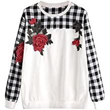 Hunputa Women's Autumn Winter Checks Splice Embroidery Flowers Plaid Long Sleeve Casual Sweatshirt Pullover Tops Blouse