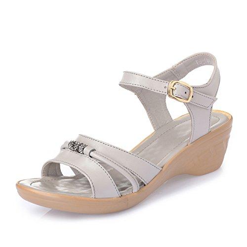 LGK&FA Estate Donna Sandali Estate tacco sandali da donna in pelle tacco Scarpe Donna Sandali Leisure grandi cantieri della madre scarpe a freddo 38 metri White 35 grey