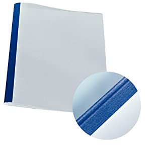 Leitz 177119 Thermal Binding Folders A4 Linen Look 3 mm Spine Width Blue Pack of 25