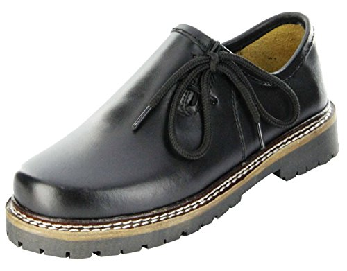 (Bergheimer Trachtenschuhe Haferlschuhe black nappa Kinder Schuhe Bergheim Kids, Farbe:schwarz, Größe:28)