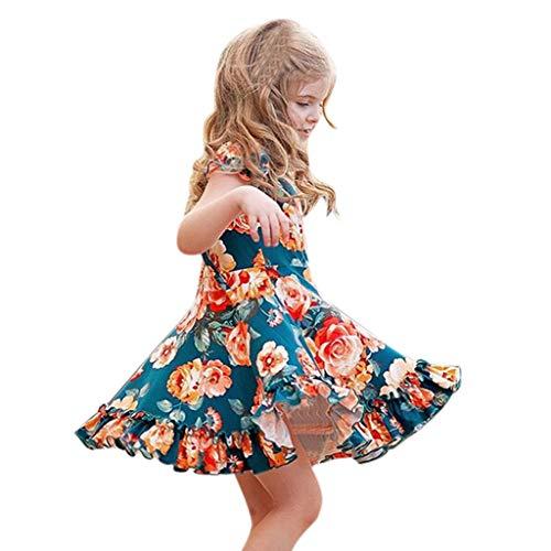 Baby Kleid Sasstaids Mädchen Kleid Kleinkind Baby scherzt Mädchen Geraffte Rüschen Blumenblumen Prinzessin Dresses Clothes Einfach gefaltetes Kleid aus Baumwolle und Leinen