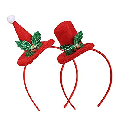 Amaone 2 Pack Christmas Headband Hair Hoop Christmas Hat Round Sharp Headwear Head Band Costume Accessories Decoration For Kids And Adults Xmas Holiday Party Decor