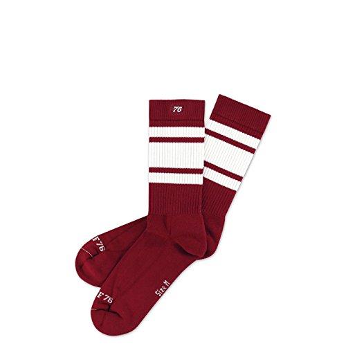 Spirit of 76 Big Red Lo | Halbhohe Retro Socken mit Streifen Weinrot, Weiß gestreift | kniehoch | stylische Unisex Kniestrümpfe Größe L (43-46)
