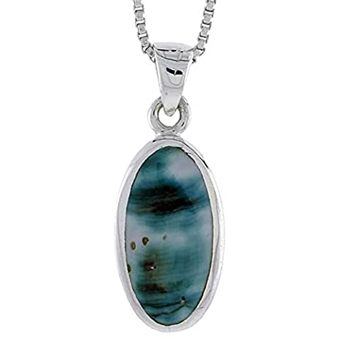 Revoni Sterling Silver Oval Shell Pendant, w/ Blue-Green Mother of Pearl inlay, 7/8