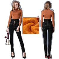 JBLDY Pantalones Vaqueros de Cintura Alta de Invierno Pelusa Calidez Adelgazante Diseño de la Correa de la Cintura,Negro,S