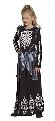 Halloweenia - Mädchen Kinder Kostüm Horror Ballkleid Skelett Königin, Skeleton Queen, perfekt für Halloween Karneval und Fasching, 140-152, Schwarz
