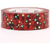 nastro adesivo decorativo Washi rosso Natale mt albero oro metallizzato