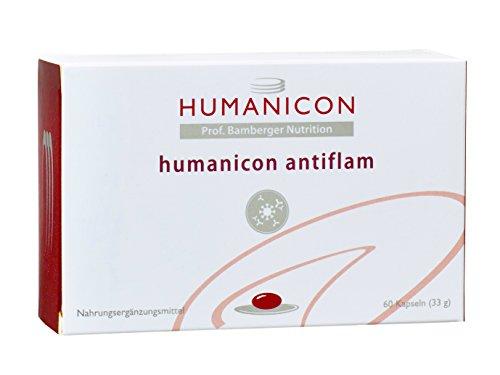 humanicon antiflam - Nahrungsergänzungsmittel mit Curcumin - Kurkuma-Extrakt - Curry, Ingwer, alpha-Liponsäure, Boswellia - Weihrauch und Andrographics - 60 Kapseln - keine Tabletten - kein Medikament