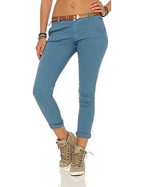 ZARMEXX signore allungano pantaloni skinny con cintura Chino pantaloni scarni Jeggings molti colori