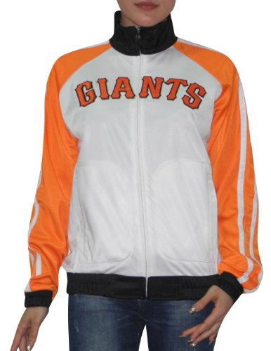 Mesdames MLB San Francisco Giants Zip Up Track Jacket avec logo brod¨¦ Blanc