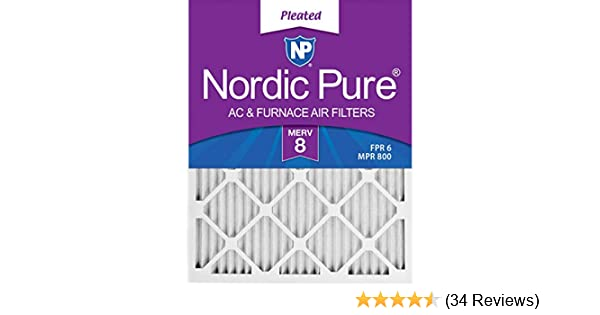 Nordic Pure 16x30x1 MERV 8 Pleated AC Furnace Air Filters 3 Piece