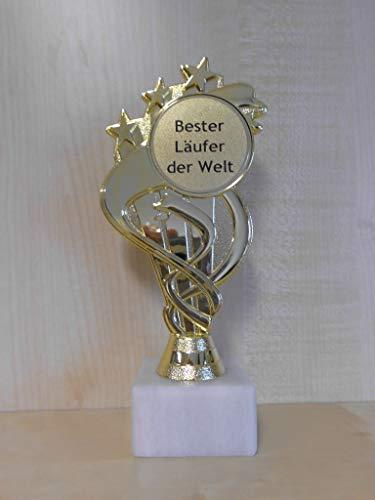 Fanshop Lünen Laufen - Pokal - Geschenk - Bester Läufer der Welt - Geburtstag - Sportpokal - Gr. 19,5 cm - Trophäe - mit Gravur - (A333) -