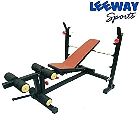 LEEWAY Olympic & Regular Weight Lifting Multi Purpose Adjustable[Flat/ Incline/ Decline] Benches  Bench with Leg Developer  Multi Exercise Gym Olympic Bench Press  Gym Equipment; Model- Olympic Bench