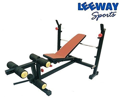 LEEWAY Olympic & Regular Weight Lifting Multi Purpose Adjustable[Flat/ Incline/ Decline] Benches| Bench with Leg Developer| Multi Exercise Gym Olympic Bench Press| Gym Equipment; Model- Olympic Bench