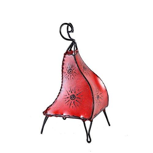 Orientalische Lampe Stehlampe marokkanische Hennalampe Lederlampe Tischleuchte Stehleuchte Orient Mellah Sonne 40 cm Color Rot (Asiatische Orientalische Lampe)