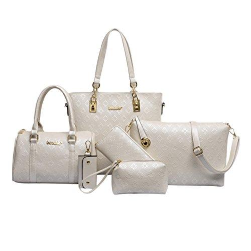 Kairuun Damen Handtaschen Große Henkeltaschen Satchel Crossbody Umhängetaschen Taschen Geldbörse mit 6 Stück Set - Tasche Geldbörse Handtasche