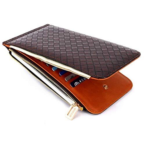 HeiPlaine Weiblich Damen Geldbörse RFID blockiert Leder Multi Card Organizer Zipper Pocket Wallet Griff Tasche (Farbe : Coffee)